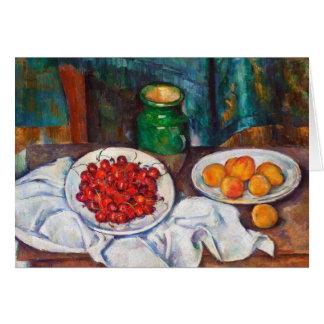 Cartão Vida de Paul Cezanne ainda com cerejas e pêssegos