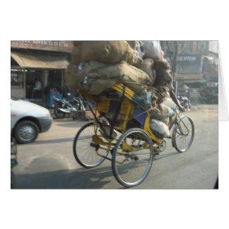 Cartão Vida em India: Rickshaw da bicicleta