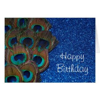 Cartão Vida Glittery do buquê azul do pavão ainda