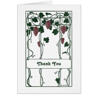 Cartão Videira-Arte da Você-Uva do obrigado Deco-Elegante