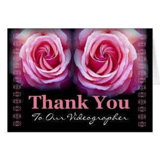 Cartão VIDEOGRAPHER - Obrigado Wedding você com rosas