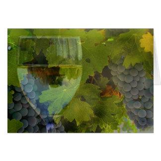 Cartão Vidro de vinho e feliz aniversario dos elogios das