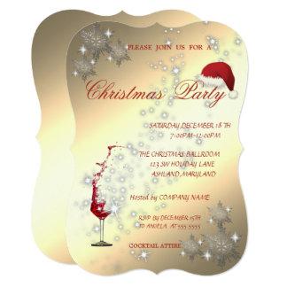 Cartão Vidro de vinho, flocos de neve, festa de Natal