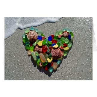Cartão Vidro do mar, vazio de vidro do coração do