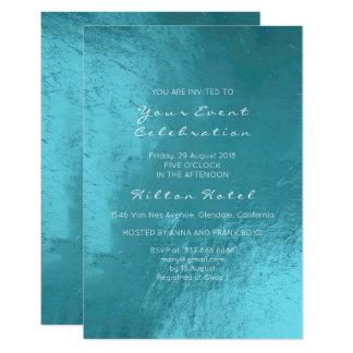 Cartão Vidro metálico mínimo do Aqua do azul de oceano de