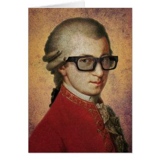 Cartão Vidros engraçados de Mozart do hipster feliz