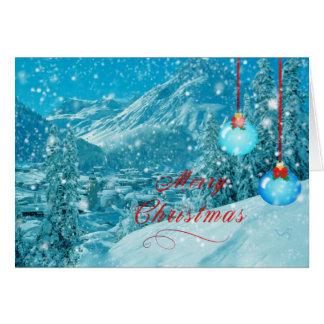 Cartão Vila nevado do inverno do Feliz Natal