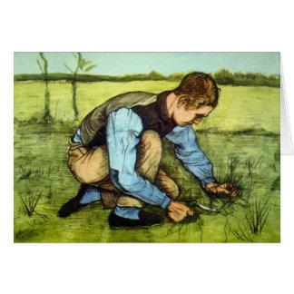 Cartão Vincent van Gogh - grama do corte do menino com