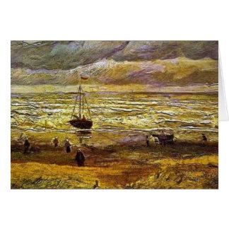 Cartão Vincent van Gogh, praia com figuras e mar com