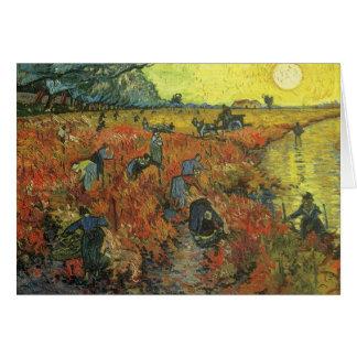 Cartão Vinhedo vermelho pela arte do impressionismo do