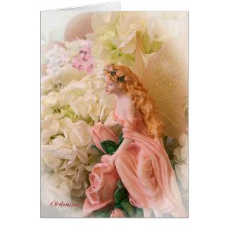 Cartão Vinheta feericamente cor-de-rosa do retrato