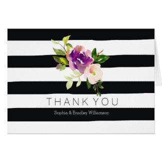 Cartão Vinho de Borgonha e listras florais da aguarela