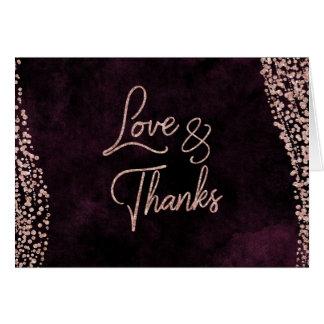 Cartão Vinho de Borgonha & obrigado Glam do casamento do