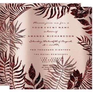 Cartão Vinho marrom vermelho do ouro cor-de-rosa tropical