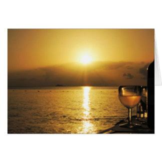 Cartão Vinho & por do sol de Anitgua