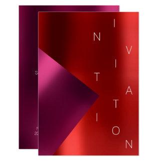 Cartão Vinho rosa vermelha metálico do evento da forma do