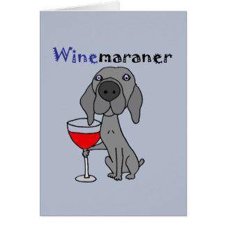 Cartão Vinho tinto engraçado do bebendo do cão de