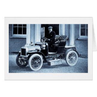 Cartão Vintage 1907 do motorista do motorista do