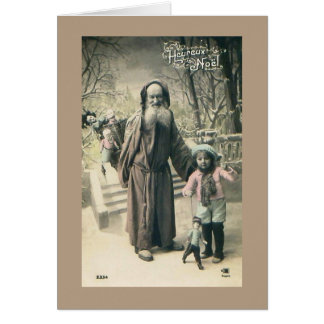 Cartão Vintage 1915 francês do Natal do papai noel do