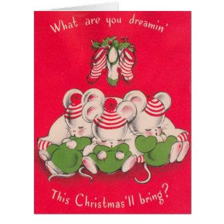 Cartão Vintage 3 Mices bonito que sonha na Noite de Natal