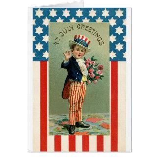 Cartão Vintage 4o do tio Sam dos jovens de julho