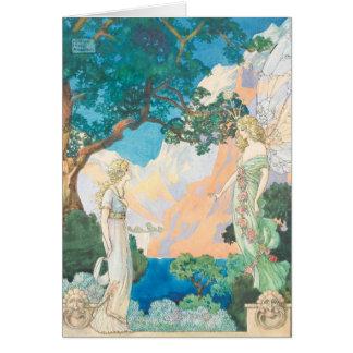 Cartão Vintage - a menina encontra o anjo em um jardim,