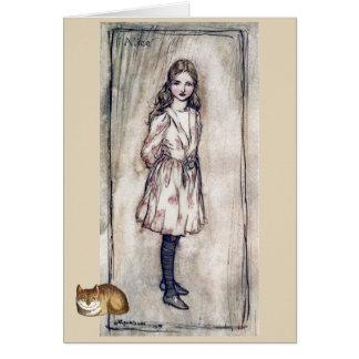 Cartão Vintage Alice na arte do gato de Cheshire do país