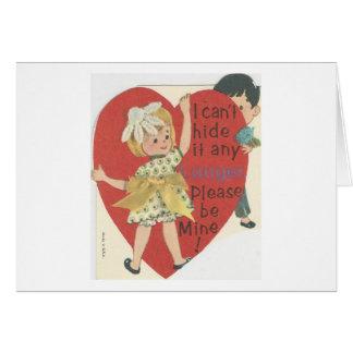 """Cartão Vintage """"couro cru - e - procure"""" namorados"""