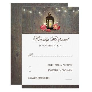 Cartão Vintage da lanterna da vela e RSVP Wedding rústico