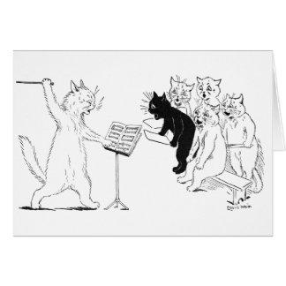 Cartão Vintage de condução Louis Wain do coro do gato