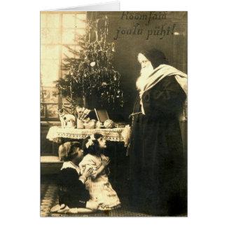 Cartão Vintage de Finlandia das crianças de Papai Noel do