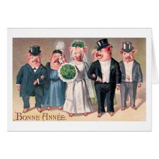 """Cartão """"Vintage do casamento do porco"""""""