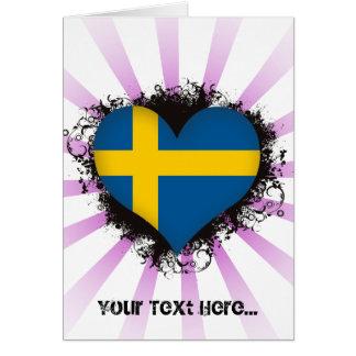 Cartão Vintage eu amo a suecia
