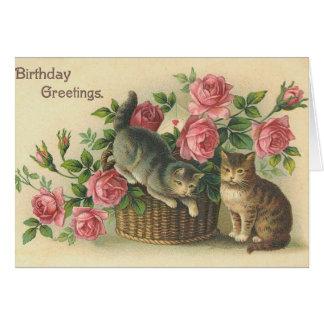 Cartão Vintage - feliz aniversario - rosas & gatos