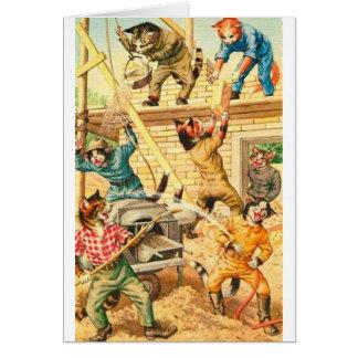 Cartão Vintage - gatos do grupo de construção,