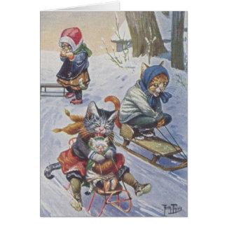 Cartão Vintage - gatos Sledding da neve,