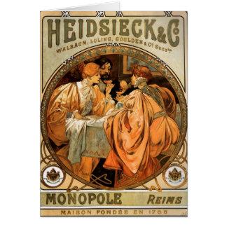 Cartão Vintage Heidsieck & etiqueta Monopole do vinho do