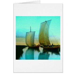 Cartão Vintage japonês tradicional dos barcos de pesca