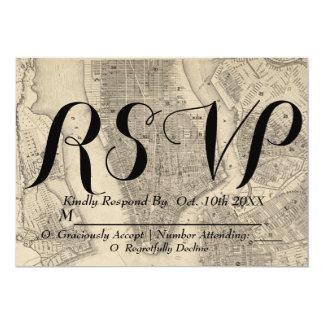 Cartão Vintage & mapa rústico de NYC que Wedding RSVP