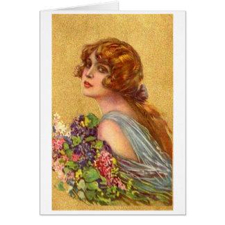 Cartão Vintage - mulher bonita com flores,