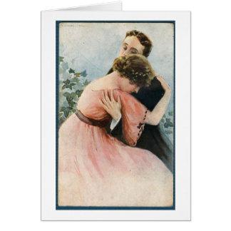 Cartão Vintage - o abraço de um casal,