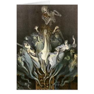 Cartão Vintage o Dia das Bruxas, fantasmas assustadores e