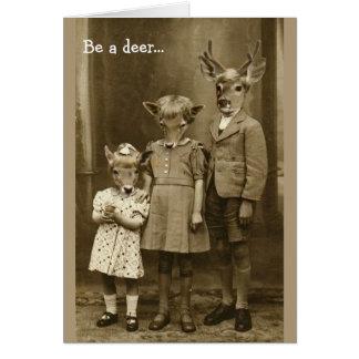 Cartão Vintage o Dia das Bruxas -- Seja um cervo,
