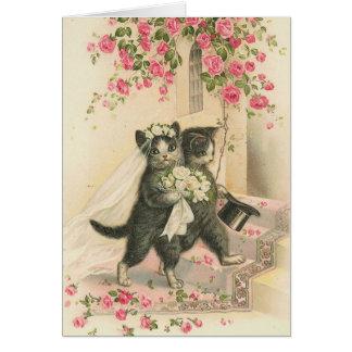 Cartão Vintage - os gatos do casamento