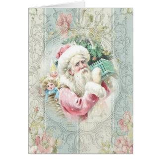 Cartão Vintage Papai Noel cor-de-rosa na janela