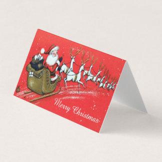Cartão Vintage Papai Noel em seu trenó com rena
