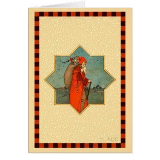 Cartão Vintage Papai Noel vermelho São Nicolau