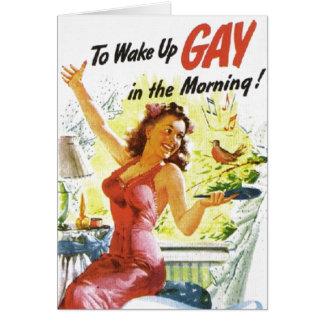 """Cartão Vintage """"para acordar o gay """""""