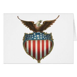 Cartão Vintage patriótico, águia americana com bandeira