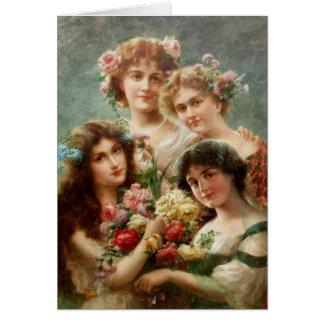 Cartão Vintage - quatro senhoras do Yesteryear,